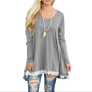 Tops - NWT Long Sleeve M Tunic with lace (light gray)